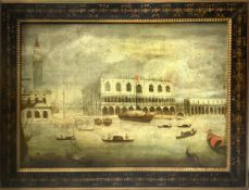 Oil painting on canvas depicting the Doge's Palace in Venice, seventeenth / eighteenth century