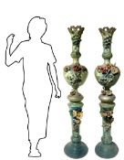 Pair of Neapolitan vases in terracotta, height 166 cm, with floral decorations in the nineteenth