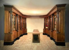 Library- woodwork in solid walnut. 18th century. semi-elliptical shape with stand 90 cm with wooden
