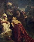 Oil painting on canvas painting depicting the Adoration of the Magi, Giuseppe Sciuti (Zafferana,