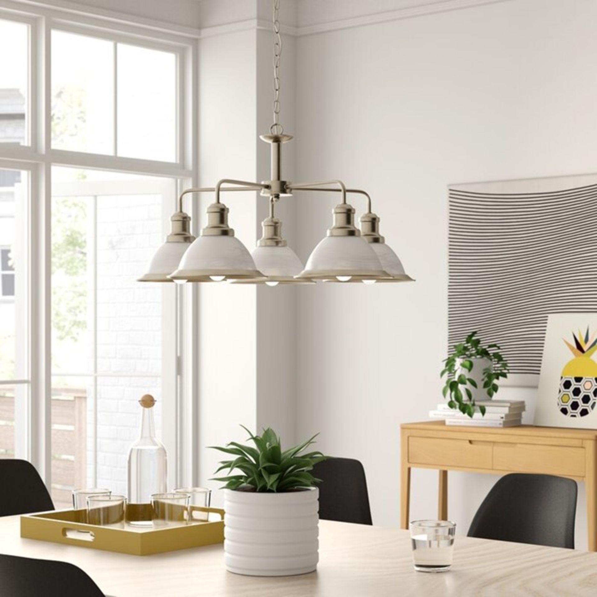 Lot 34 - Ophelia & Co.,Almont 3-Light Shaded Chandelier SLIVER - RRP £69.99 (SRL4862 - 15767/11) 5B