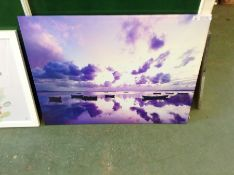 Hokku Designs,Sunset and Sea with Boats Photograph