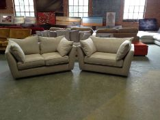 EX SHOWROOM BISCUIT FABRIC 2 SETAER SOFA AND CHAIR