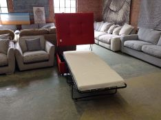 EX SHOWROOM ORANGE PULL OUT BED SOFA AND FOOTSTOOL