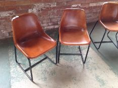 PAIR OF TAN LEATHER CHAIRS (MARKED)(23)(RETURN)