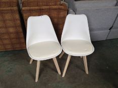 PAIR OF CREAM AND WHITE CHAIR (35)(RETURN)