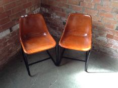 PAIR OF TAN LEATHER CHAIRS (MARKED) (25)(RETURN)