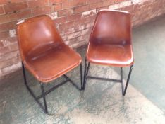 PAIR OF TAN LEATHER CHAIRS (MARKED) (24)(RETURN)
