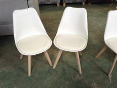 PAIR OF CREAM AND WHITE CHAIR (RETURN) (38)