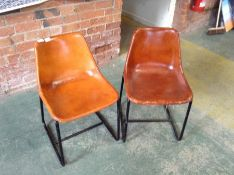 PAIR OF TAN LEATHER CHAIRS (MARKED) (28)(RETURN)