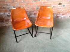 PAIR OF TAN LEATHER CHAIRS (MARKED) (27)(RETURN)
