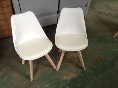 PAIR OF CREAM AND WHITE CHAIR (36)(RETURN)
