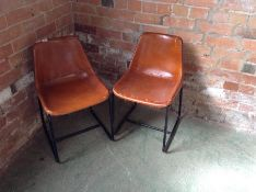 PAIR OF TAN LEATHER CHAIRS (MARKED) (26)(RETURN)