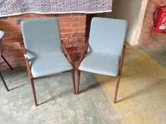 PAIR OF TEAL FABRIC CHAIRS (31)(RETURN)