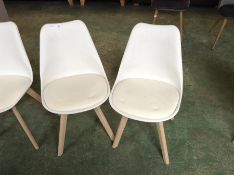 PAIR OF CREAM AND WHITE CHAIR (40)(RETURN)
