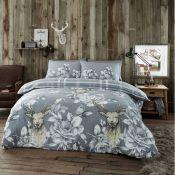Alpen Home, Derick 144 TC Brushed Cotton Duvet Cover Set (GREY)(DOUBLE) - RRP £22.99 (HAHK1121 -