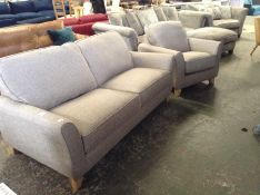 TEXTURED WEAVE TAUPE 3 SEATER AND CHAIR (SFL704-70