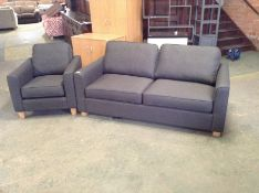 PORTIA Turin Charcoal Medium Sofabed and Chair ( S