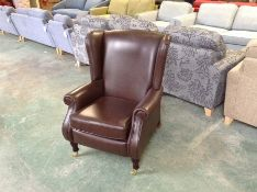 BROWN LEATHER WING CHAIR (WOO753231)