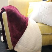 George Oliver, Herring Fleece Blanket (WINE)(140X180CM) - RRP £24.82 (DKBI1238 - 18602/67) 2D
