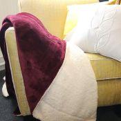 George Oliver, Herring Fleece Blanket (WINE)(140X180CM) - RRP £24.82 (DKBI1238 - 18602/66) 2D