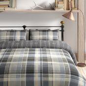 Alpen Home, Lemoyne Brushed Cotton Duvet Cover Set (DOUBLE)(CHARCOAL) - RRP £27.99 (HAZM8357 -