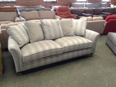 TEAL AND SLIVER PATTER LARGE 3 SEATER SOFA (TROO19