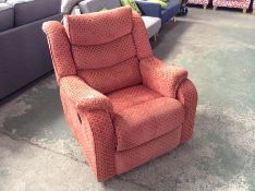 ORANGE AND GOLD MANUAL RECLINING CHAIR