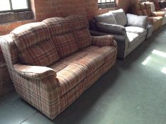 MULTI COLOURED PATTERNED HIGH BACK 3 SEATER SOFA (
