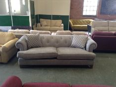 GREY BUTTON BACK LARGE 3 SEATER SOFA (TROO1965 WOO