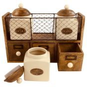 Three Posts, 3 Piece Coffee, Tea, & Sugar Jar Set - RRP £62.99 (ALAS5864 - 19828/2) 2D
