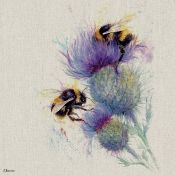 East Urban Home, Bees on Thistle' by Jane Bannon Print in Grey/Purple Wrapped On Canvas (30CM) -