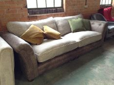 BROWN SADDLE AND BISCUIT FABRIC SPLIT 4 SEATER SOF