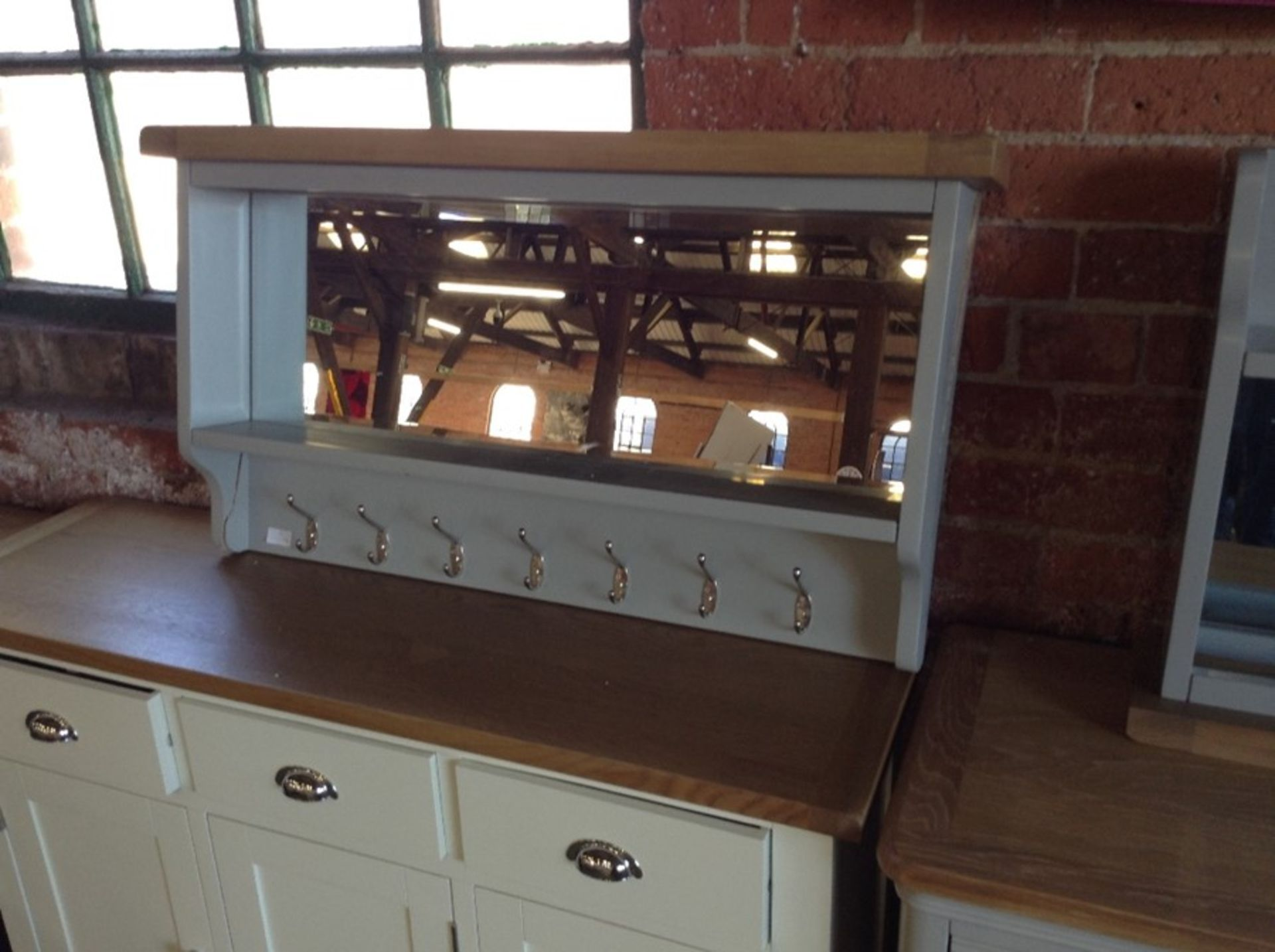 Lot 253 - Suffolk Grey Painted Oak Large Hall Bench Top (DAM