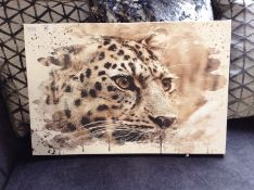 East Urban Home,'Leopard on Alert' Painting on Canvas RRP -£27.99 (EUCJ9729 -15741/29)