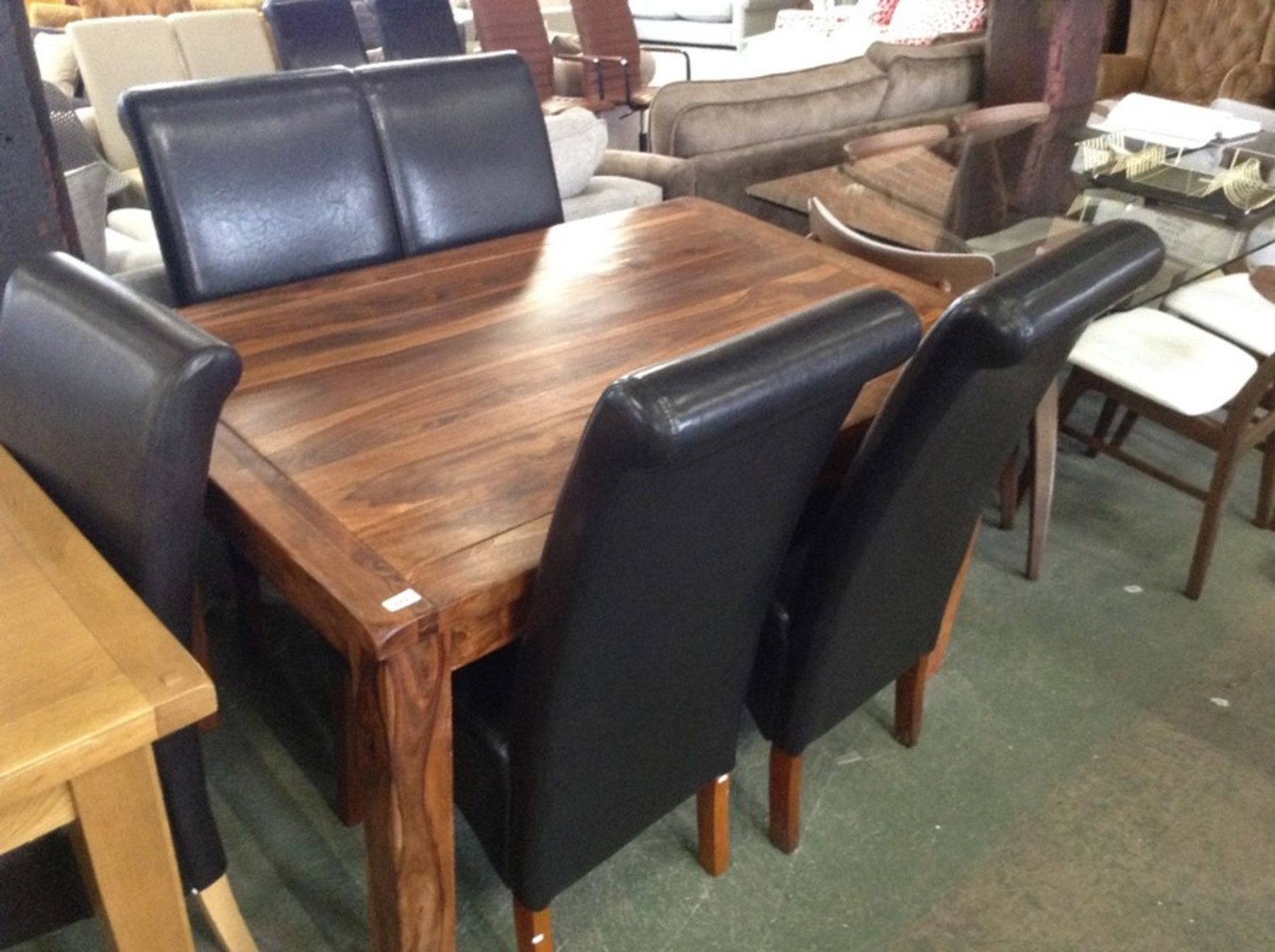 Lot 137 - ETHNIC TABLE AND 4 CHAIRS
