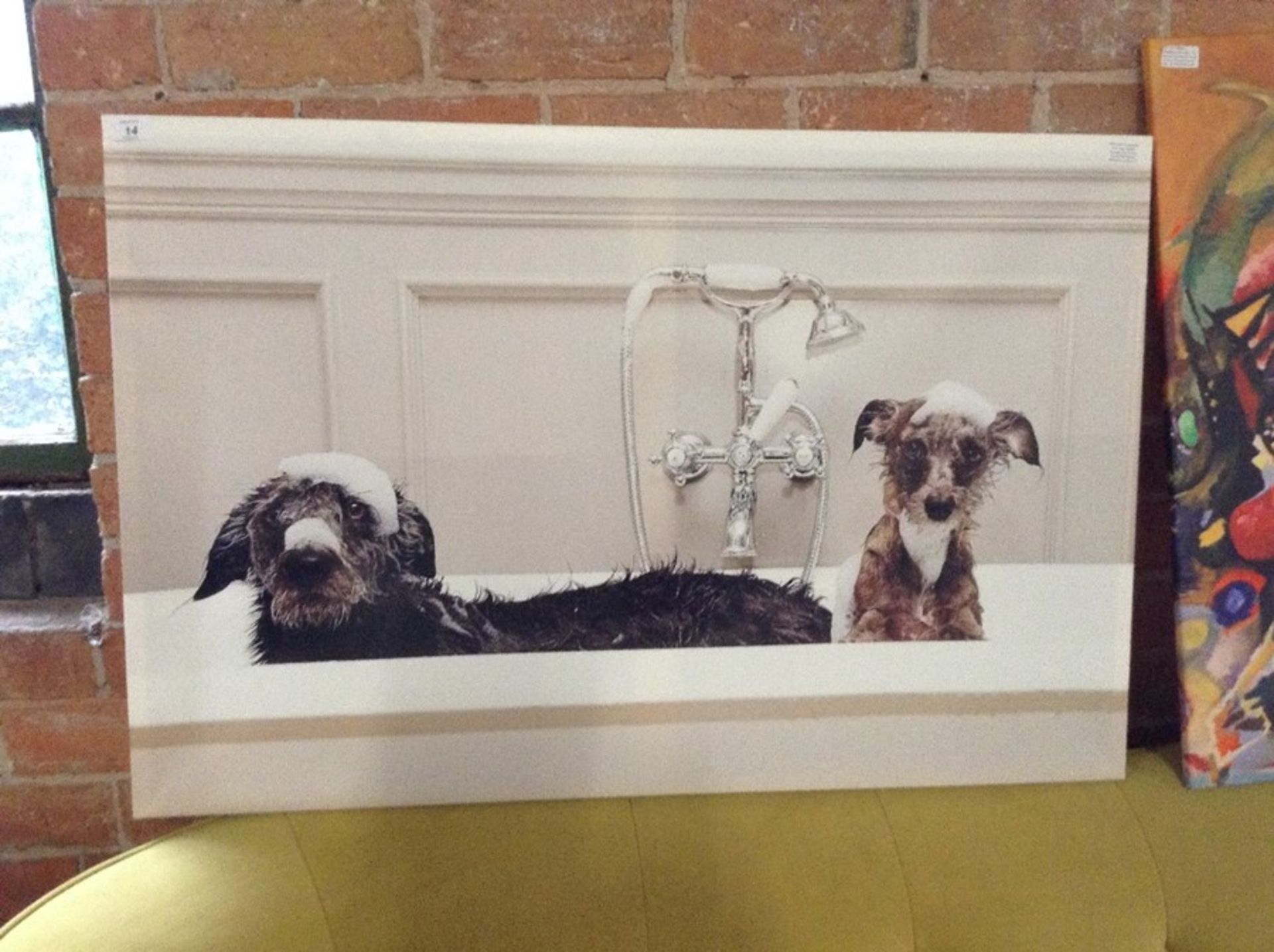 Lot 14 - East Urban Home,'Bath Time Dogs Wildlife' Photographic Print on Canvas RRP -£60.99 (BGSY6242 -