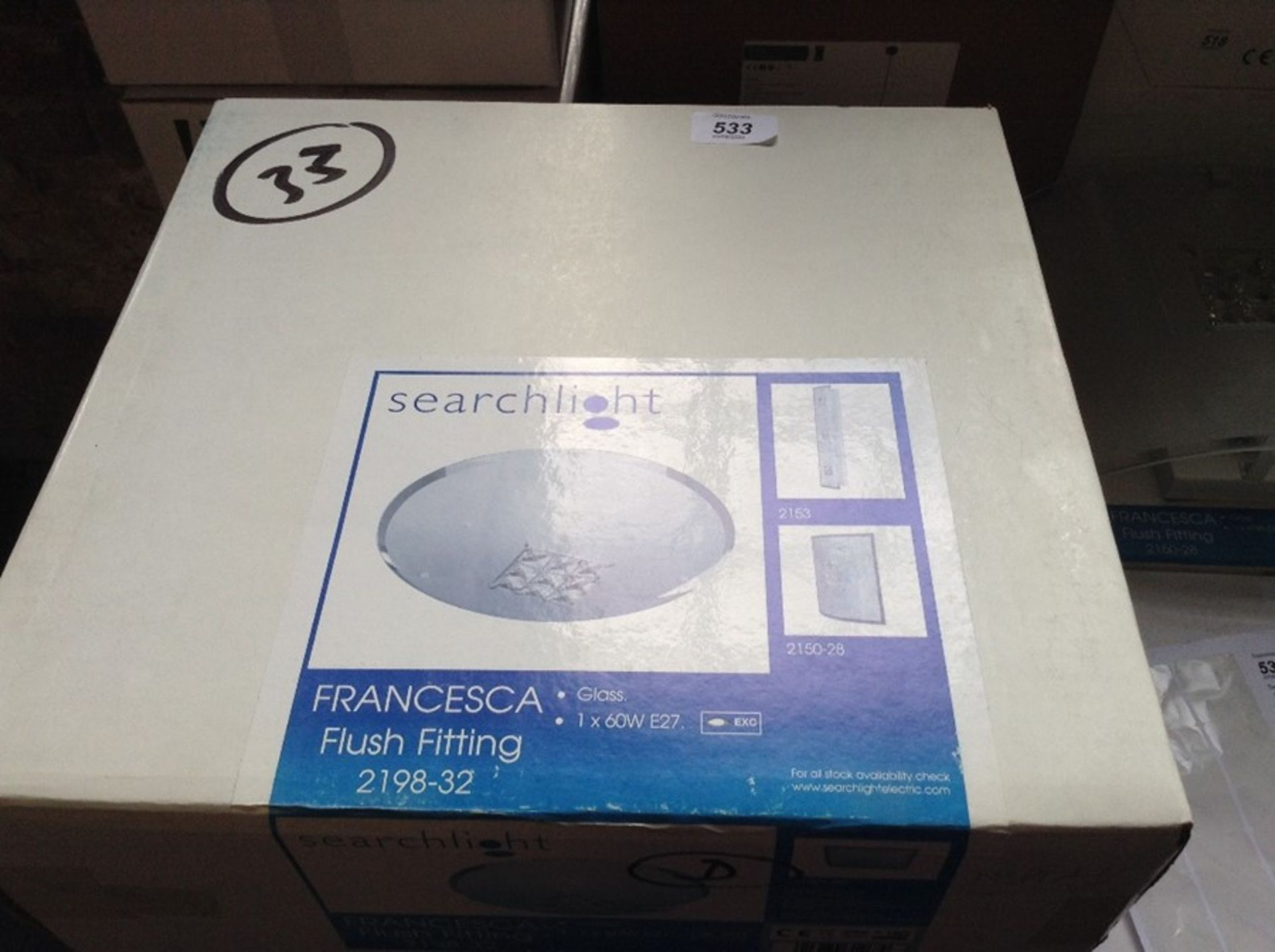Lot 504 - SEARCH LIGHT CRYSTAL AND GLASS FLUSH FITTING(2198-