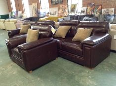 EX SHOWROOM BROWN LEATHER 2 X 2 SEATER SOFA AND CH