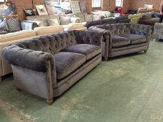 GREY CHESTERFIELD 3 SEATER SOFA AND 2 SEATER SOFA