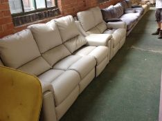 LIGHT GREY LEATHER ELECTRIC RECLINING 3 SEATER SOF