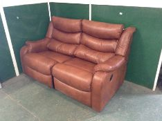 BROWN LEATHER MANUAL RECLING 3 SEATER SOFA (TROO19