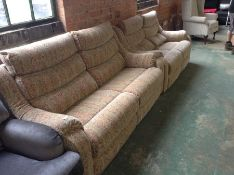 MULTI COLOURED PATTEREND HIGH BACK 3 SEATER SOFA A
