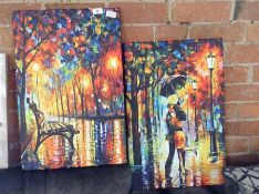 Hokku Designs,Dance Under the Rain by Leonid Afremov Painting Print on Wrapped Canvas RRP -£28.99 (