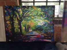 Hokku Designs,Forest Path Painting Print on Wrapped Canvas RRP -£47.99 (HOKU5361 -15741/33)