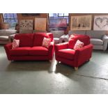 MELBOURNE CORSICA RED 2 SEATER SMALL AND CHAIR (SF