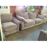 GREY FABRIC 3 SEATER SOFA AND CHAIR AND FOOTSTOOL