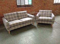 DYLAN CHECK 2 SEATER SOFA AND SNUGGLER (SFL821-SFL822)