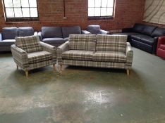 DYLAN CHECK DOVE GREY 3 SEATER SOFA AND CHAIR (SFL824-SFL820)