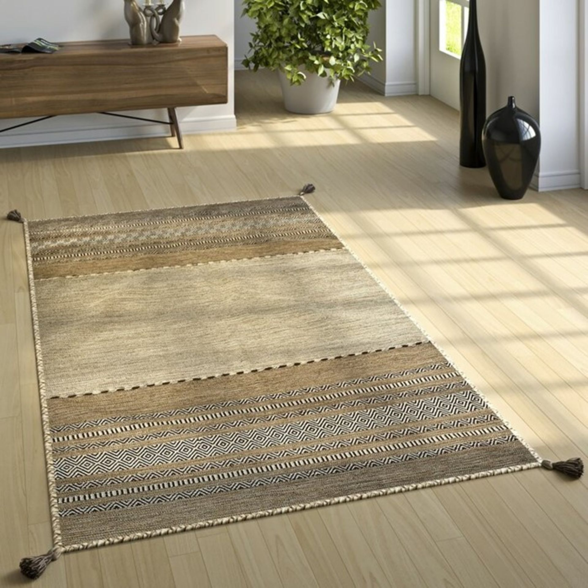 World Menagerie, Earby Handmade Kilim Cotton Beige Rug RRP £109.99 (ALAS6620 - 18699/37) - Image 2 of 2